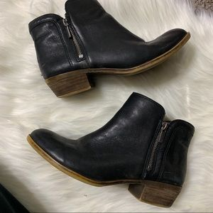 Black lucky brand leather booties size 8